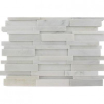 Splashback Tile Dimension 3D Brick Asian Statuary Pattern 12 in. x 12 in. x 8 mm Marble Mosaic Floor and Wall Tile