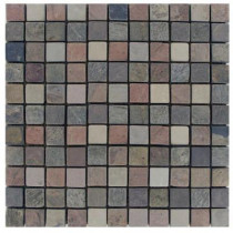 MS International Mixed 12 In. x 12 In. x 10 mm Tumbled Slate Mesh-Mounted Mosaic Tile