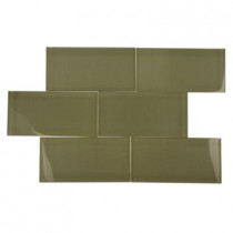 Splashback Tile Contempo Khaki Polished 3 in. x 6 in. Glass Tiles-DISCONTINUED