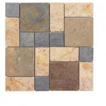 Jeffrey Court Block Medley 12 in. x 12 in. x 8 mm Slate/Travertine Mosaic Wall Tile