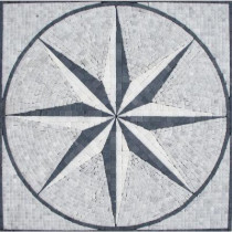 MS International Black & White Star Medallion 24 in. x 24 in. Tumbled Marble Mesh Mounted Mosaic Tile