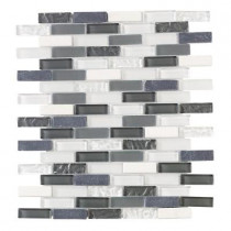 Jeffrey Court Silver Tradition Mini Brick 12 in. x 12 in. Glass Wall Tile