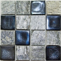 Studio E Edgewater Silverstrand Glass and Slate Mosaic & Wall Tile - 5 in. x 5 in. Tile Sample-DISCONTINUED