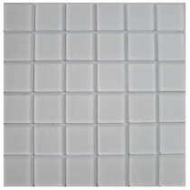 Splashback Tile 12 in. x 12 in. Contempo Bright White Frosted Glass Tile
