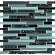Epoch Architectural Surfaces Spectrum Blue Pearl-1662 Granite And Glass Blend Mesh Mounted Floor and Wall Tile - 2 in. x 12 in. Tile Sample