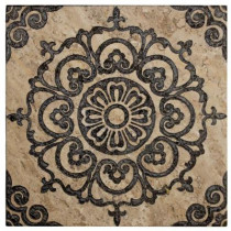 Jeffrey Court Saffron Etched Panel 12 in. x 12 in. x 10 mm Travertine Wall Tile