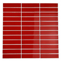 Splashback Tile Contempo Lipstick Red Polished 12 in. x 12 in. x 8 mm Glass Mosaic Floor and Wall Tile