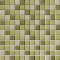 Daltile Isis Kiwi Blend 12 in. x 12 in. x 3 mm Glass Mesh-Mounted Mosaic Wall Tile