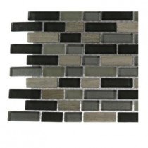 Splashback Tile Naiad Blend Bricks 1/2 in. x 2 in. Marble and Glass Tile Brick Pattern - 6 in. x 6 in. Floor and Wall Tile Sample