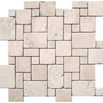 MS International Ivory Mini Versaille Pattern 12 in. x 12 in. x 10 mm Tumbled Travertine Mesh-Mounted Mosaic Tile