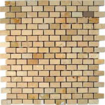 Splashback Tile Crema Marfil Bricks 12 in. x 12 in. x 8 mm Marble Floor and Wall Tile