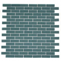 Splashback Tile Contempo Turquoise Brick Pattern 12 in. x 12 in. x 8 mm Glass Mosaic Floor and Wall Tile