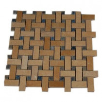 Splashback Tile Basket Braid Jerusalem Gold and Blue Macauba 12 in. x 12 in. x 8 mm Stone Mosaic Floor and Wall Tile