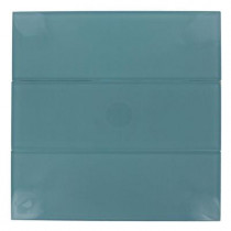Splashback Tile Contempo 4 in. x 12 in. x 8 mm Turquoise Polished Glass Floor and Wall Tile