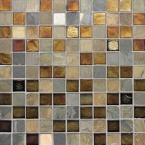 Studio E Edgewater Sunset Cliffs 1 in. x 1 in. 11 3/4 in. x 11 3/4 in. Glass and Slate Wall & Floor Mosaic Tile-DISCONTINUED