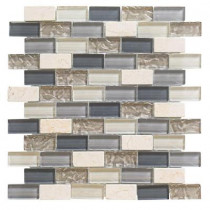 Jeffrey Court Cedar Cove 12 in. x 12 in. x 8 mm Glass Travertine Mosaic Wall Tile (3.55 lb. / Each)