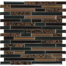 Epoch Architectural Surfaces Spectrum Tropical Brown-1665 Granite And Glass Blend Mesh Mounted Floor and Wall Tile - 2 in. x 12 in. Tile Sample