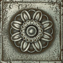 Daltile Metal Signatures 4-1/4 in. x 4-1/4 in. Iron Metal Rosette Decorative Wall Tile