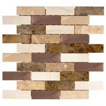 Jeffrey Court Copper Canyon 12 in. x 12 in. x 6 mm Copper and Marble Mosaic Wall Tile