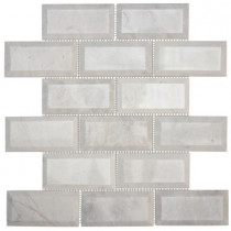 Jeffrey Court Carrara Beveled 2 x 4/12 in. x 12 in. x 10 mm Marble Mosaic Wall Tile