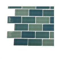 Splashback Tile Aqua Splash Blend Glass - 6 in. x 6 in. Tile Sample-DISCONTINUED