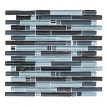 Jeffrey Court Blue Zephyr Pencil 12 in. x 12 in. x 8 mm Glass Mosaic Wall Tile