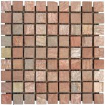 MS International Copper Fire 12 in. x 12 in. x 10 mm Tumbled Quartzite Mesh-Mounted Mosaic Tile (10 sq. ft. / case)