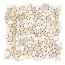 Jeffrey Court Creama River Rock Mosaic 12 in. x 12 in. x 8 mm Marble Mosaic Wall Tile