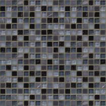 Jeffrey Court Black Azure 12 in. x 12 in. 8 mm Glass Marble Mosaic Wall Tile