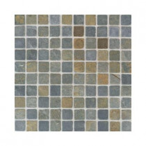 Daltile Indian Multicolor 12 in. x 12 in. x 9-1/2 mm Tumbled Slate Mosaic Floor and Wall Tile (5 sq. ft. / case)