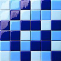 Elementz 12.5 in. x 12.5 in. Capri Blu Mix Glossy Glass Tile-DISCONTINUED