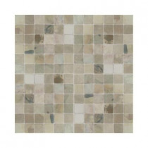 Daltile Travertine Copper 12 in. x 12 in. x 9-1/2 mm Tumbled Slate Sheet-Mounted Mosaic Tile (5 sq. ft. / case)