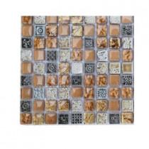 Splashback Tile Aztec Art Golden Halo Glass Tile Sample