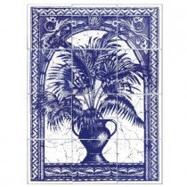 6 in. x 6 in. Palm Tree Blue Tiles (12-Pieces)-DISCONTINUED