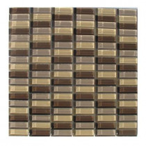 TAFCO PRODUCTS 12 in. x 12 in. x 1/4 in. Thick Stacked Brown Glass Tile