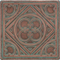 Daltile Castle Metals 4-1/4 in. x 4-1/4 in. Aged Copper Metal Insert A Accent Wall Tile