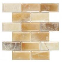 Jeffrey Court Beveled Onyx 2 x 4/12 in. x 12 in. x 10 mm Onyx Mosaic Wall Tile