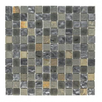 Jeffrey Court Black Gold Medley 12 in. x 12 in. x 8 mm Glass Slate Mosaic Floor and Wall Tile