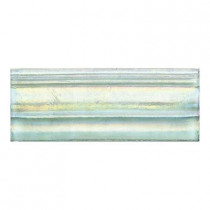 Daltile Cristallo Glass Aquamarine 3 in. x 8 in. Glass Chair Rail Accent Wall Tile