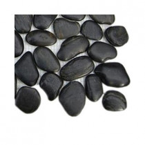 Splashback Tile 3D Pebble Rock Jet Black Stacked Marble Tile Sample