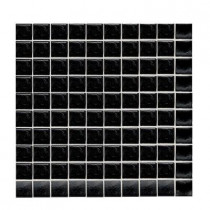 Daltile Sonterra Glass Black Opalized 12 in. x 12 in. x 6 mm Glass Sheet Mounted Mosaic Wall Tile-DISCONTINUED