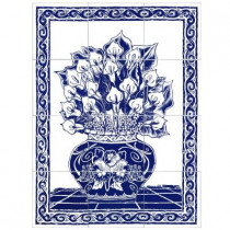 6 in. x 6 in. Calla Lily Blue Tiles (12-Pieces)-DISCONTINUED